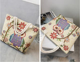 Owl National Style Tote Bag High Capacity Canvas Bag Cartoon Shoulder Bag Animal Mom Bag