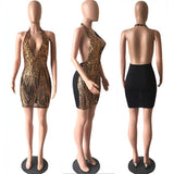 Sexy Gold Sequins Deep V Neck Backless Bodycon Dress Fashion Hollow Out Party Club Dress