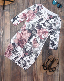 Women's Fashion Sexy Round neck 3/4 Sleeve Printed Dress