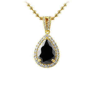 Pear Lab Black Diamond Gem Gold CZ Pendant