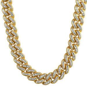 Baguette CZ Gold Cuban Chain
