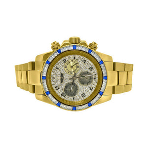 Gold Daytona Watch Blue White Baguette CZ Bezel