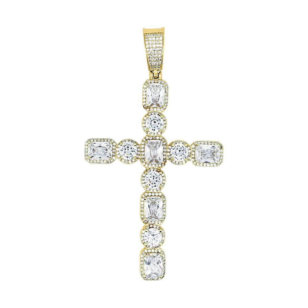 .925 Silver Emerald and Round Cut CZ Gold Cross
