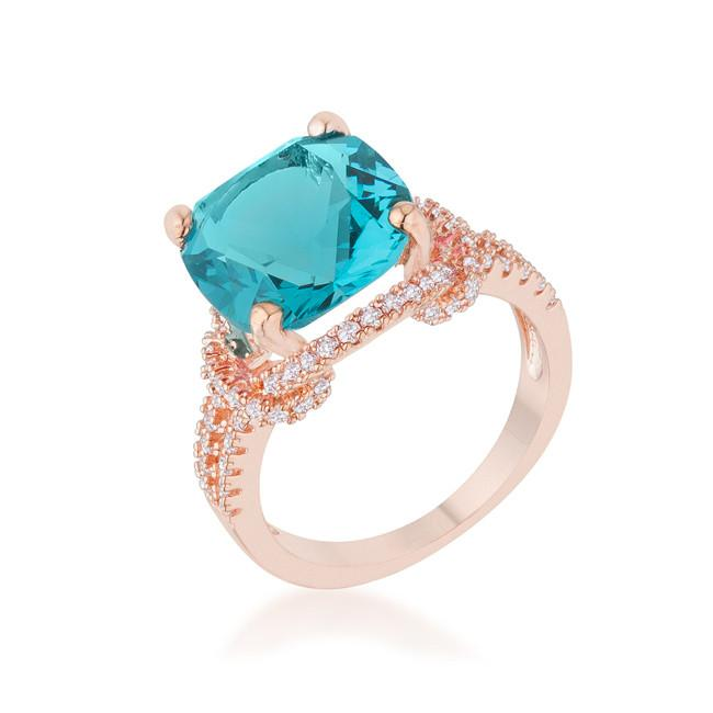 Charlene 6.2ct Aqua CZ Rose Gold Classic Statement Ring