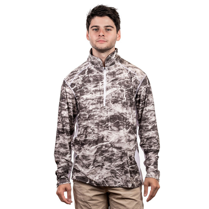 Mens Mossy Oak Elements 1/4 Zip Long Sleeve Fishing  T-Shirt