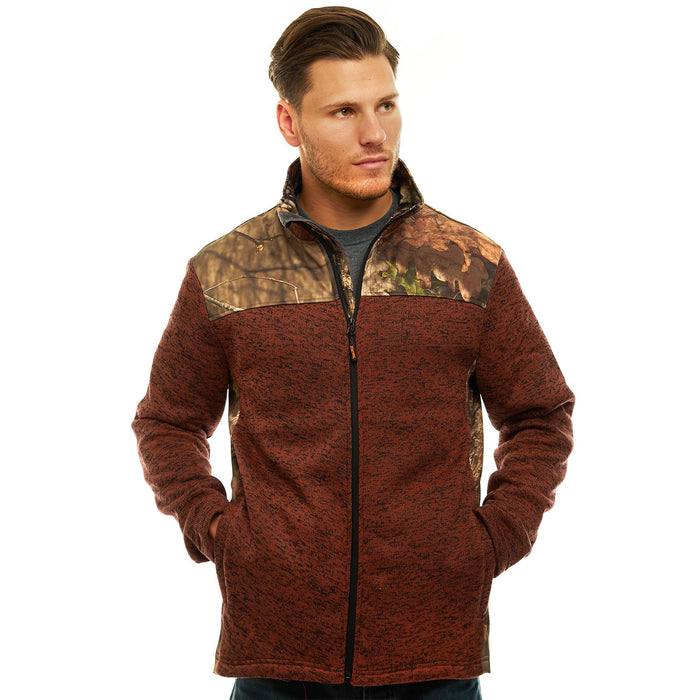 Men's Mossy Oak Signature Sweater Fleece Jacket Break-Up Country Camo