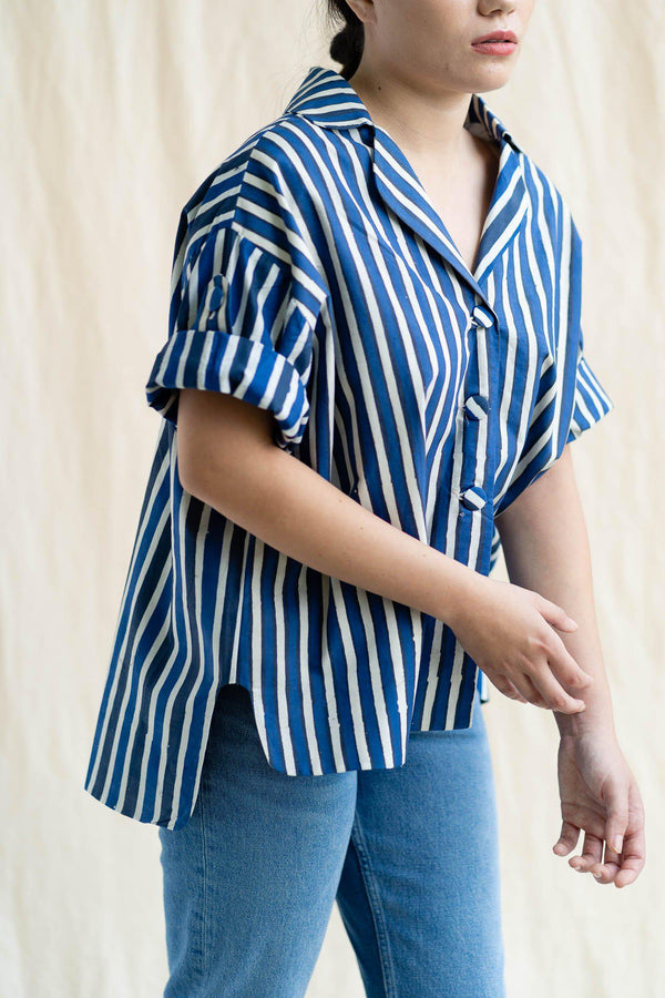 Cocoon Shirt | Indigo Stripe (Final Piece)