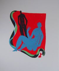Red & Blue Lovers - Original Woodcut
