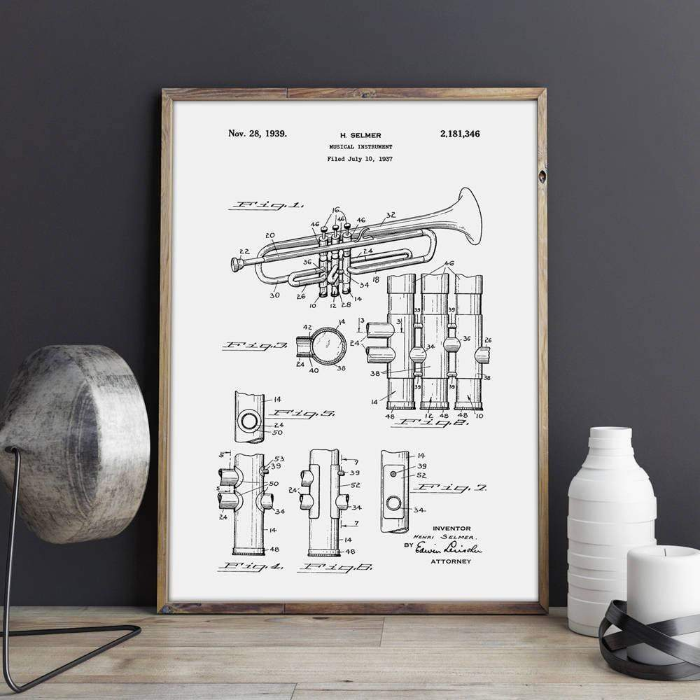 Ready to Frame Trumpet Patent Canvas print - 9 sizes