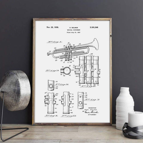 Image of Ready to Frame Trumpet Patent Canvas print - 9 sizes