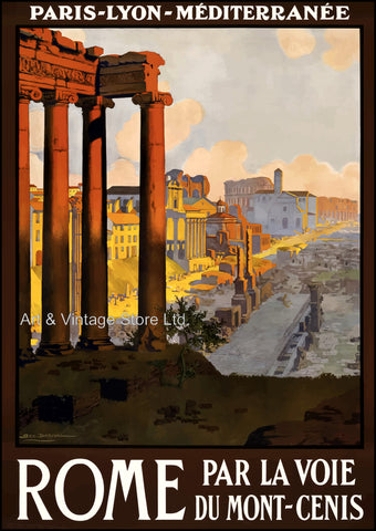 Image of Rome 1920's Vintage Travel Poster - Fine Art Giclée Print