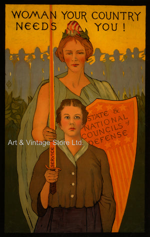 Woman Your Country Needs You! WW 1 Poster - Fine Art Giclée Print