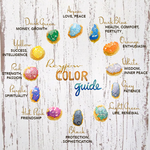 Illustrated guide to the meanings of gemstone colors