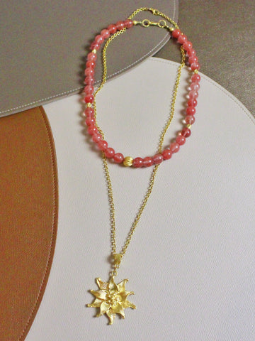 7 Holiday - Lei in Cherry Quartz