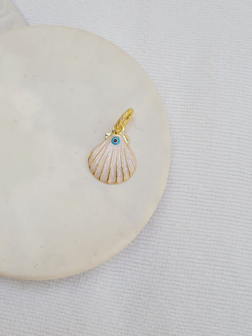 Charms and Chains Bar - White Evil Eye Clam Shell