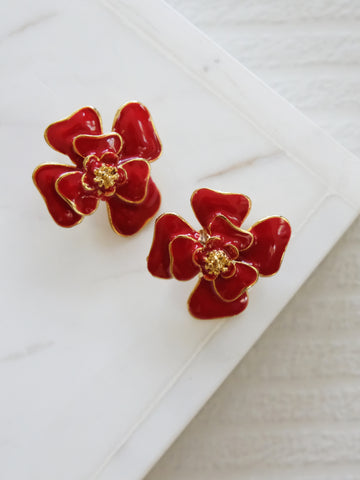 Heyjow x Estee Lauder - Dahlia Earrings in Rouge