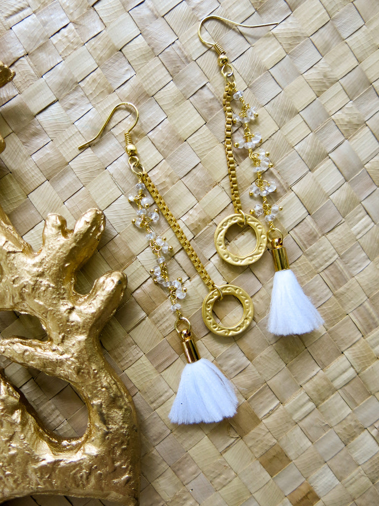 Aloha White - Cotton Earrings