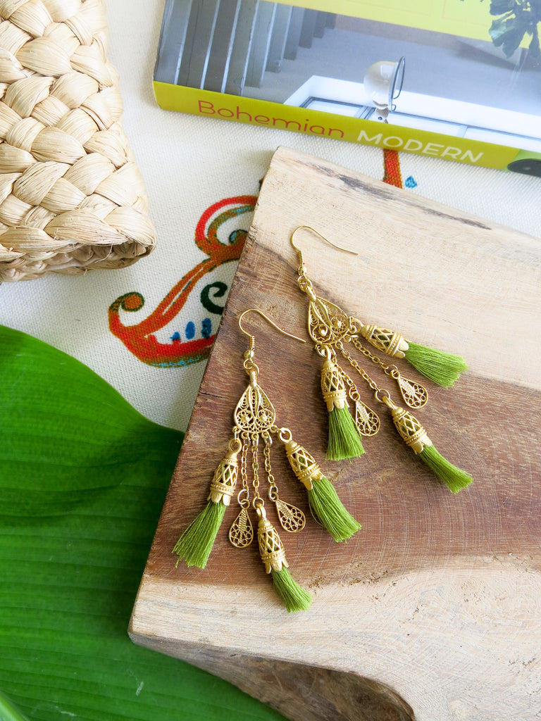 Tropical Greens - Palm Earrings