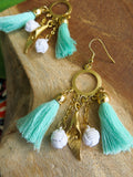 Tropical Greens - Raffia Earrings