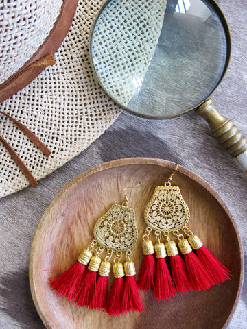 Savanna - Boka Earrings in Red