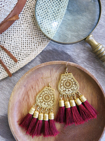 Savanna - Boka Earrings in Burgundy