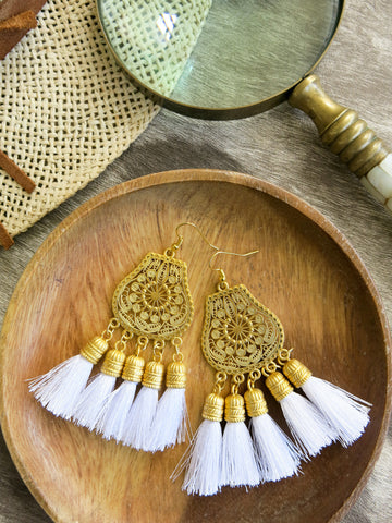 Savanna - Boka Earrings in White