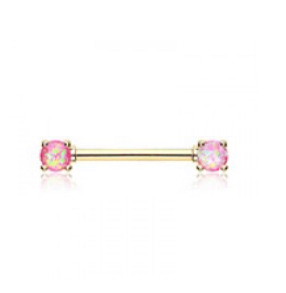 Golden Opal Glitter Nipple Ring
