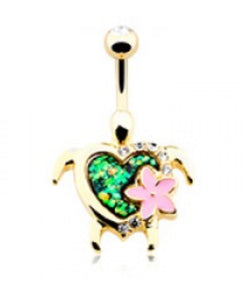 Kauai Flower Turtle Belly Ring