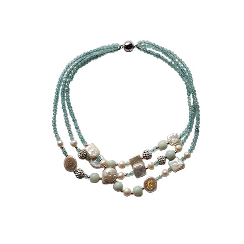 Studio G Three Strand Mixed Pearl Necklace