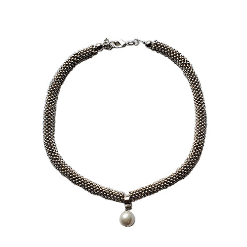 Studio G Snake Braid Necklace with Drop Pearl Pendant