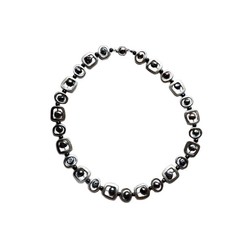 Studio G Metal Square Link Necklace with Black Pearls