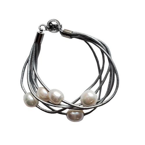 Studio G Six Strand Leather and Pearl Bracelet
