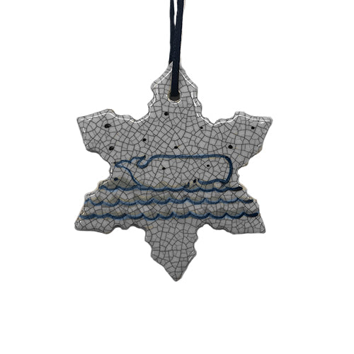 Dedham Snowflake with Whale Ornament