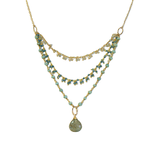 Anne Vaughan Serenity Aquamarine Multistrand Necklace