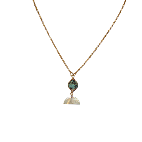 Anne Vaughan Matte Gold African Turquoise Focal Necklace
