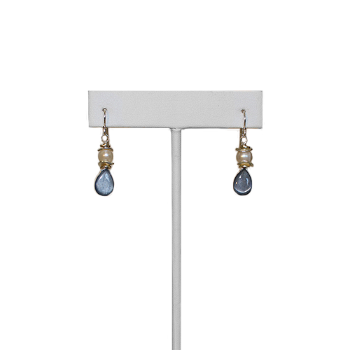 Anne Vaughan Kyanite Pearl Dangle Earrings