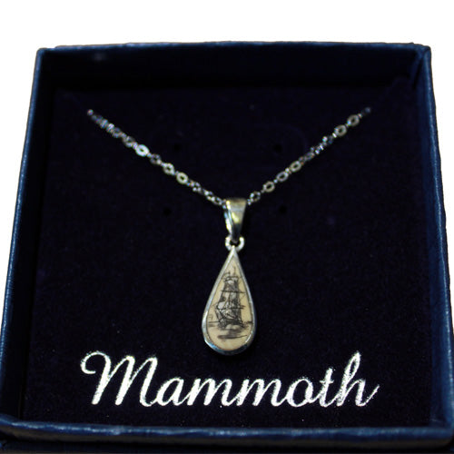 Teardrop Scrimshaw Necklace