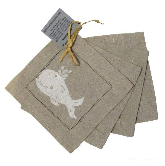 Low Country Whale Linens Cocktail Napkins