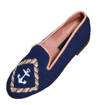 Anchor on Navy Classic Needlepoint Loafer