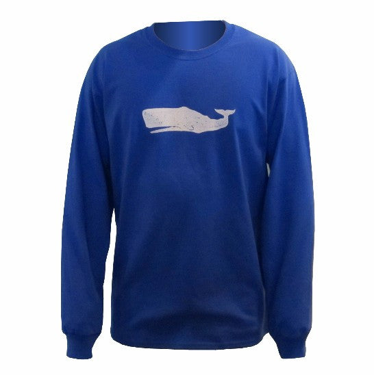 Long Sleeve  White Whale T-Shirt, Royal Blue