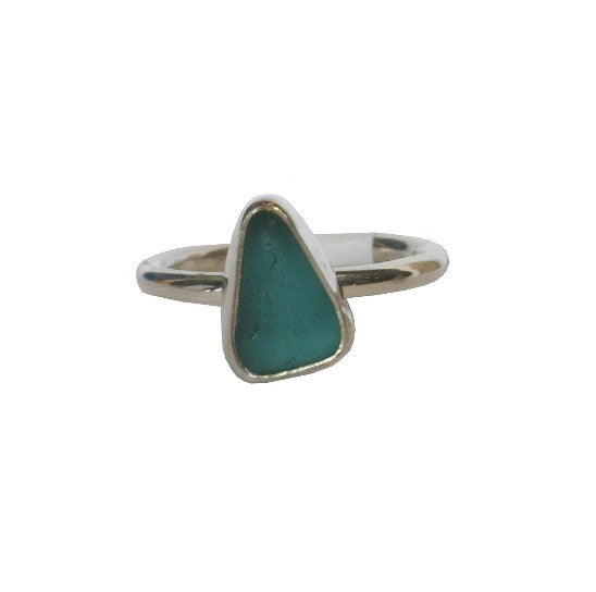 Aqua Sea Glass Sterling Silver Ring