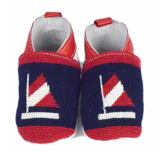 Blue and Red Sailboat Needlepoint Baby Booties