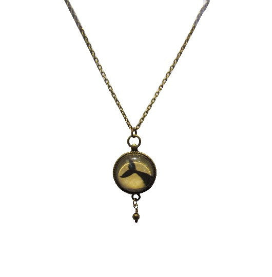 Brass Whale Tail Necklace