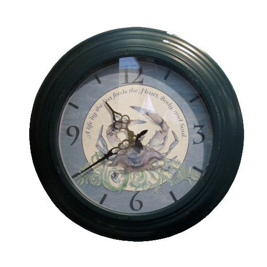 Large Blue Crab Wall Clock