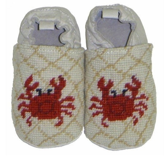 Crab Needlepoint Baby Booties