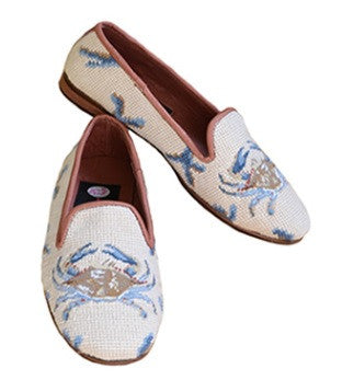 Blue Crab on Sand Classic Needlepoint Loafer