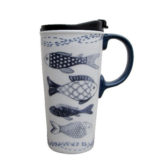 Inky Blue Fish Travel Cup