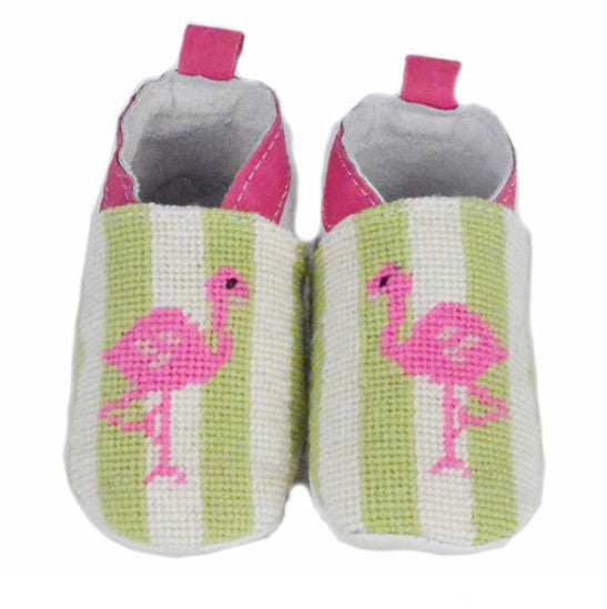 Flamingo on Lime Stripe Needlepoint Baby Booties