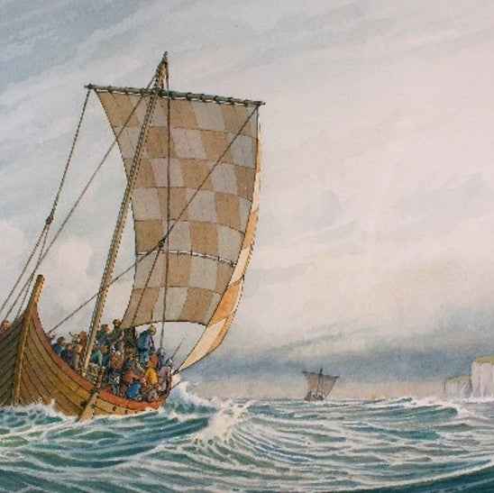 Viking Ships in the English Channel, by William Gilkerson