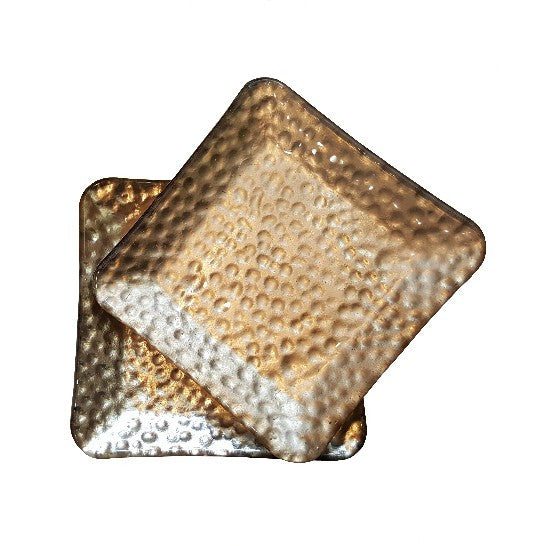 Hammered Gold Glass Plates